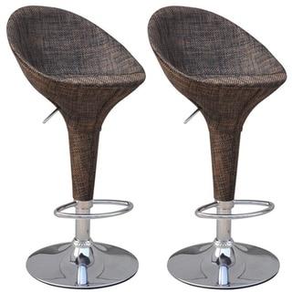 Link to HomCom Set of 2 Modern Rattan Wicker Adjustable Swivel Home Pub Bar Stool Similar Items in Dining Room & Bar Furniture