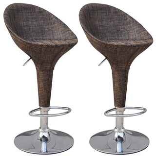 HomCom Set of 2 Modern Rattan Wicker Adjustable Swivel Home Pub Bar Stool