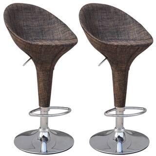Homcom Set Of 2 Modern Rattan Wicker Adjule Swivel Home Pub Bar Stool