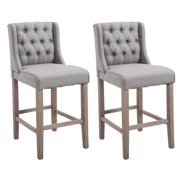 """Set Of 4 Kitchen Counter Height Chairs With Microfiber: HomCom 40"""" Tufted Counter Height Bar Stool Dining Chair"""
