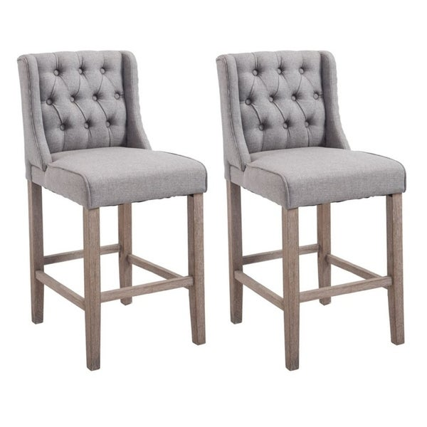 HomCom Set Of 2 Modern Bar Height Fabric Wingback Dining Chairs With Tufted  Buttons   Grey