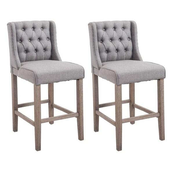 "Amazon Kitchen Bar Stools: HomCom 40"" Tufted Counter Height Bar Stool Dining Chair"