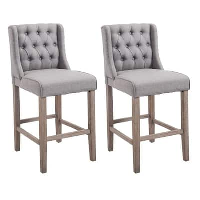 HomCom 40-inch Tufted Counter Height Grey Chair (Set of 2)