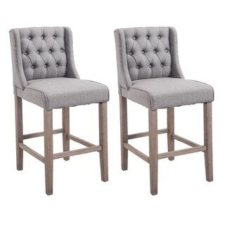 HomCom Set of 2 Modern Bar Height Fabric Wingback Dining Chairs With Tufted Buttons - Grey