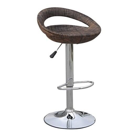 Homcom Vintage Adjule Open Back Rattan Bucket Seat Patio Bar Stool Set Of 2