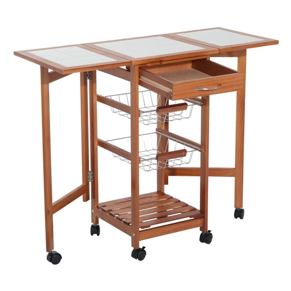 HomCom Folding Rolling Trolley Kitchen Cart Table Island with Basket. Opens flyout.