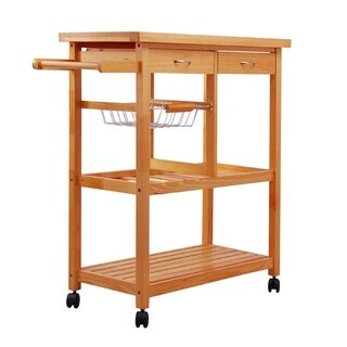 HomCom 32 inch Wooden Rolling Kitchen Cabinet Organizer Cart With 3 Bottle Wine Rack - N/A