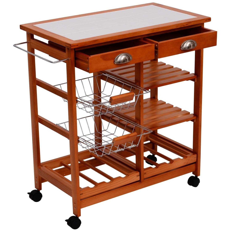 Homcom 30 Wooden Rolling Kitchen Organizer Cart Tile Counter Top With Basket Storage Wine Rack