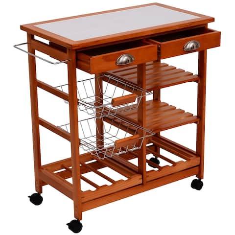 "30"" Wooden Rolling Kitchen Organizer Cart Tile Counter-top With Basket Storage Wine Rack"
