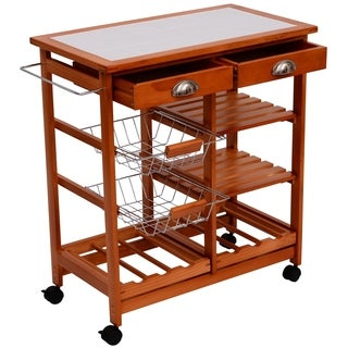 "HomCom 30"" Wooden Rolling Kitchen Organizer Cart Tile Counter-top With Basket Storage Wine Rack"