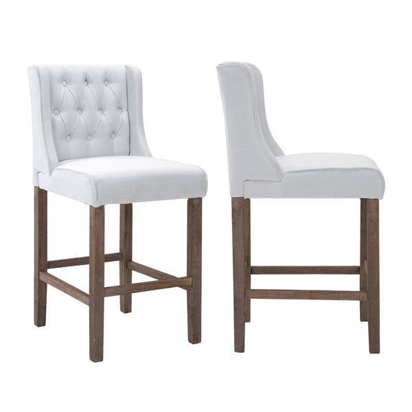 Remarkable Shop Homcom Modern Bar Height Fabric Wingback Dining Chairs Gmtry Best Dining Table And Chair Ideas Images Gmtryco