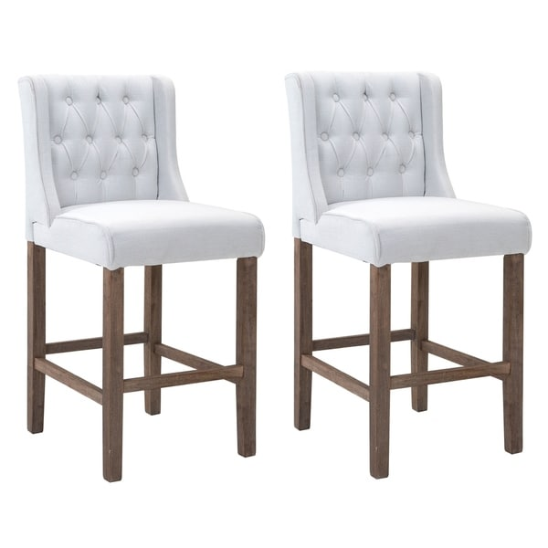 HomCom Modern Bar Height Fabric Wingback Dining Chairs With Tufted Buttons    Cream White   Set