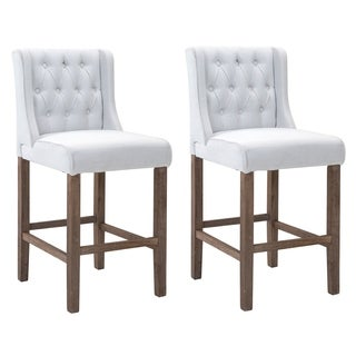 HomCom Modern Bar Height Fabric Wingback Dining Chairs with Tufted Buttons - Cream White - Set of 2 Chairs