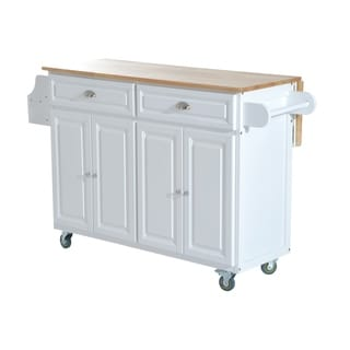 HomCom Kitchen Island - Modern Rolling Storage Cart on Wheels With Wood Top (White)