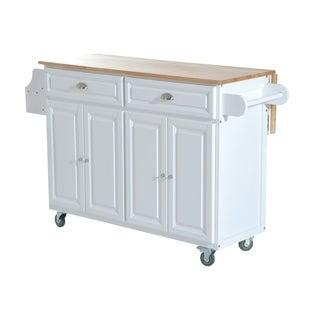 HomCom Kitchen Island   Modern Rolling Storage Cart On Wheels With Wood Top  (White)
