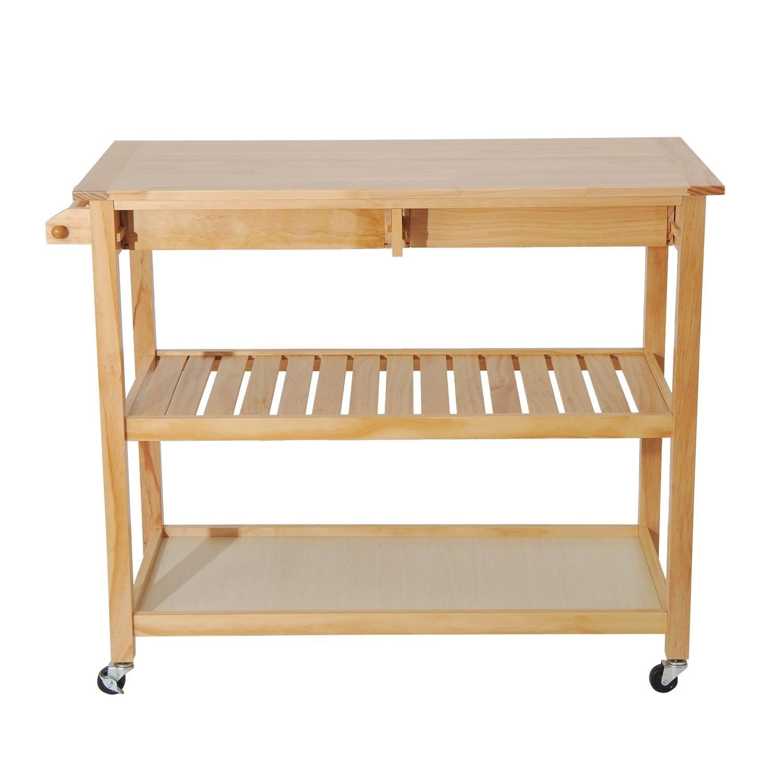 Homcom 45 Inch Contemporary 3 Level Portable Natural Kitchen Island Cart W Storage