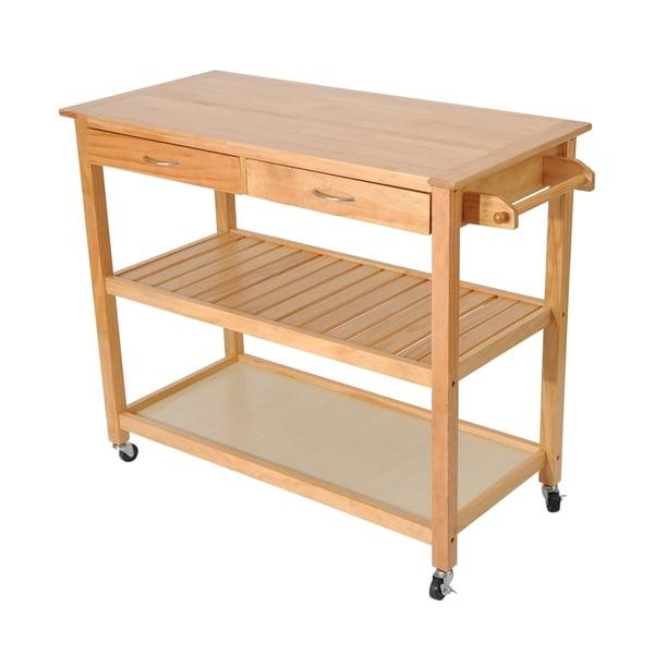 Homcom 45 Inch Contemporary 3 Level Portable Natural Kitchen Island Cart W Storage N