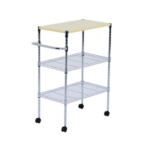 "HomCom 24"" Portable Rolling Wire Shelf Kitchen Cart Storage Trolley"