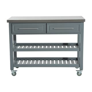 HomCom Country Style Kitchen Island - Rustic Rolling Storage Cart on Wheels With Stainless Steel Top