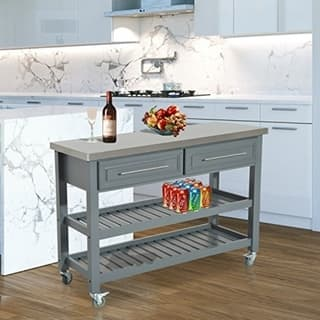 Shop HomCom Country Style Kitchen Island - Rustic Rolling ...