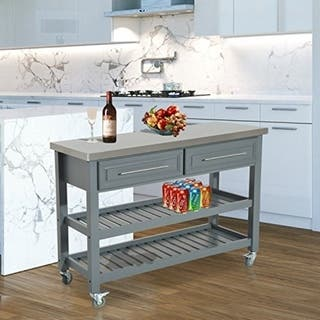 Shop Homcom Country Style Kitchen Island Rustic Rolling Storage