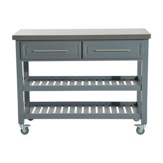 HomCom Country Style Kitchen Island - Rustic Rolling Storage Cart on Wheels With Stainless Steel Top  sc 1 st  Overstock.com & Buy Kitchen Carts Online at Overstock.com   Our Best Kitchen ...