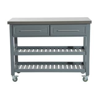 HomCom Country Style Kitchen Island   Rustic Rolling Storage Cart On Wheels  With Stainless Steel Top