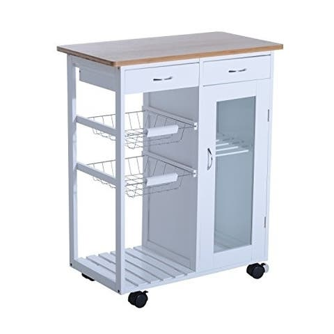 """HomCom 34"""" Rolling Kitchen Trolley Serving Cart with Drawers and Cabinet"""