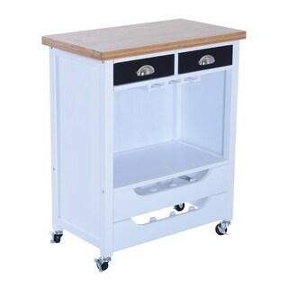 HomCom Rolling Kitchen Trolley Serving Cart w/ Wine Rack & Stemware Storage