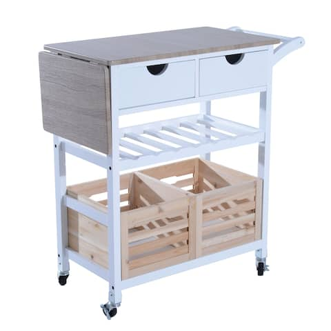 "HomCom 34"" Rolling Drop-Leaf Kitchen Trolley Serving Cart with Wine Rack"