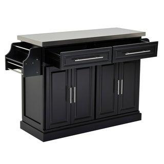 HomCom Kitchen Island - Modern Rolling Storage Cart on Wheels With Stainless Steel Top (Black)