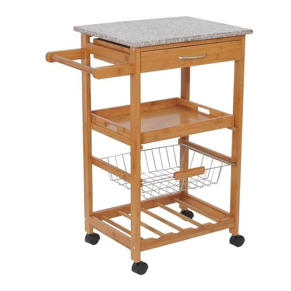 HomCom 31 Wooden Kitchen Island Rolling Storage Cart With Granite Top and Wine Rack