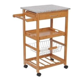 HomCom 31 Wooden Kitchen Island Rolling Storage Cart With Granite Top And  Wine Rack   N