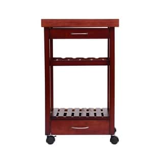 "HomCom 32"" Rolling Wooden Storage Cart Kitchen Trolley w/ Drawers and Wine Rack