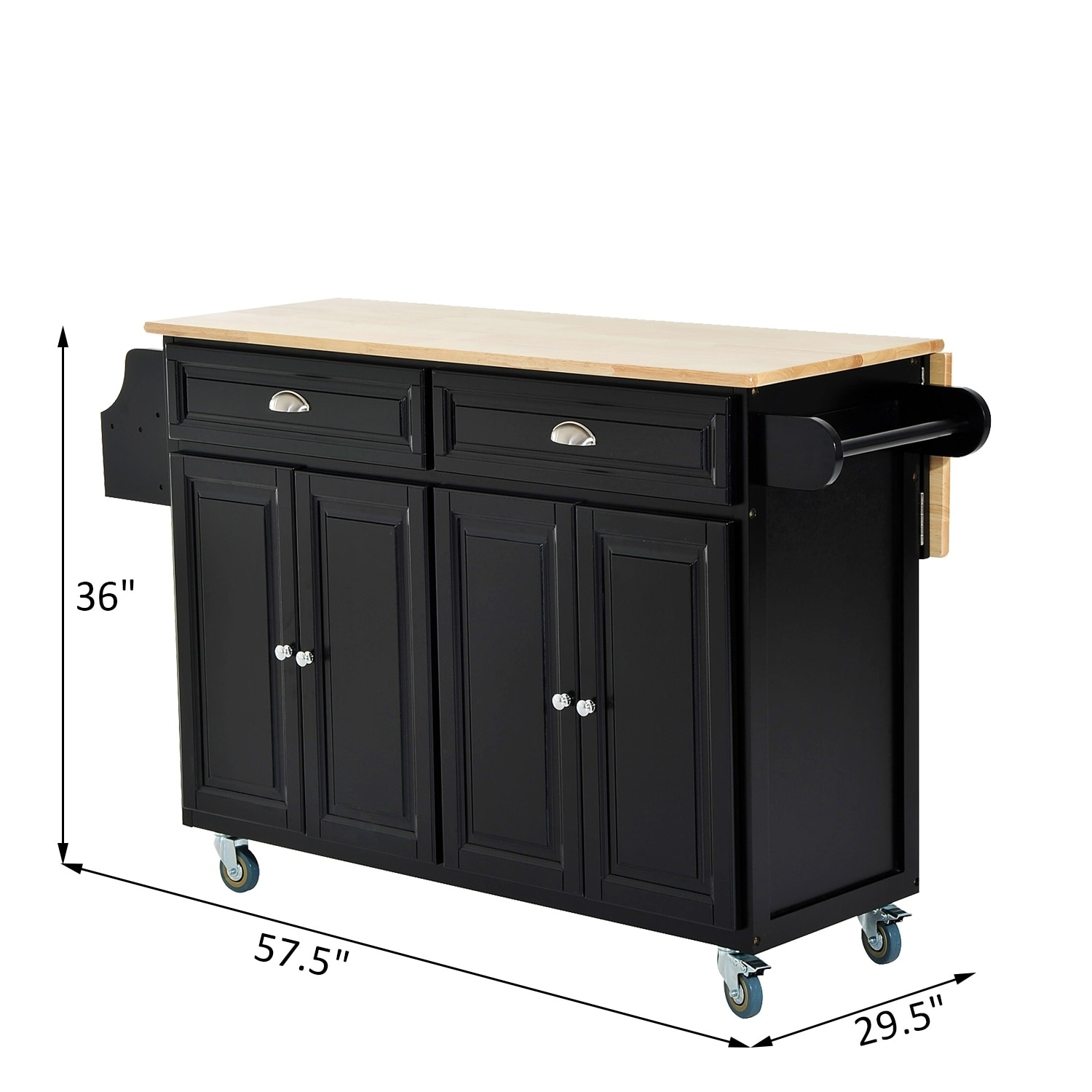 Image of: 57 Rolling Kitchen Island Portable Modern Storage Cabinet Wood Utility Cart