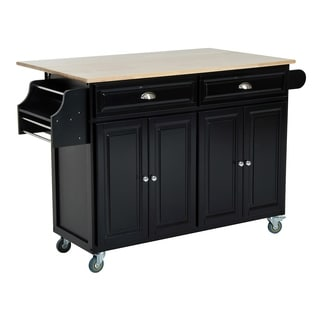 HomCom Kitchen Island - Modern Rolling Storage Cart on Wheels With Wood Top (Black)