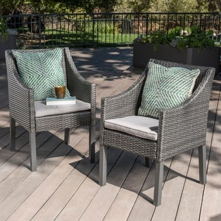Antibes Outdoor Wicker Dining Chairs with Cushions by Christopher Knight Home
