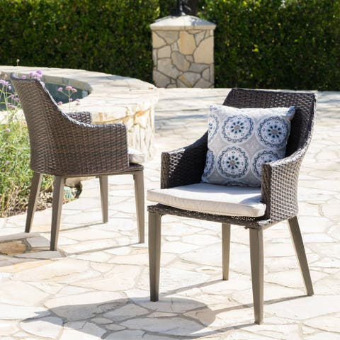 Hillhurst Outdoor Wicker Dining Chairs with Cushions (Set of 2) by Christopher Knight Home