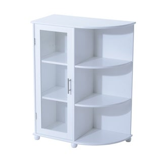 "HomCom 32"" Floor Cabinet with Door and Side Shelves - White"