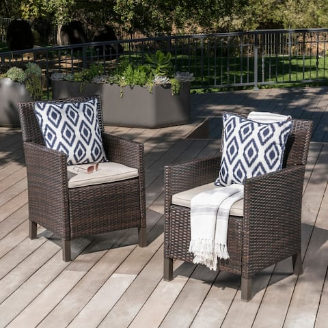 Cypress Outdoor Wicker Dining Chairs with Cushions (Set of 2) by Christopher Knight Home