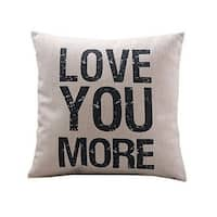 Vintage Home Decor Linen Love You More Throw Pillow Cover - Black/White/Natural