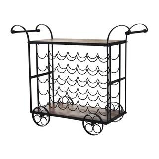 "HomCom 32"" 35 Bottle Metal and Wood Wheeled Wine Rack Cart - Black/Wood"