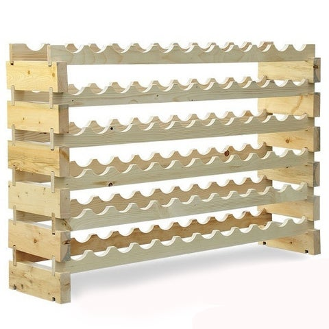 HomCom 72 Bottles Solid Natural Wood Wine Rack Storage