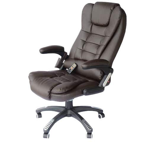 HomCom Executive Ergonomic Heated Vibrating Massage Office Chair- Brown