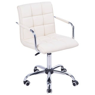 HomCom Modern Tufted PU Leather Midback Home Office Chair - Light Cream Yellow