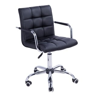 HomCom Black Executive Office Computer Dining Chair Midback Modern PU Leather