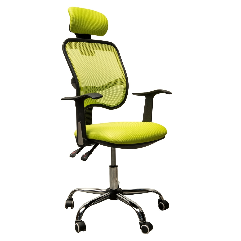 HomCom Adjustable Mesh High Back Computer Desk Office Task Chair w/  Headrest - Lime Green
