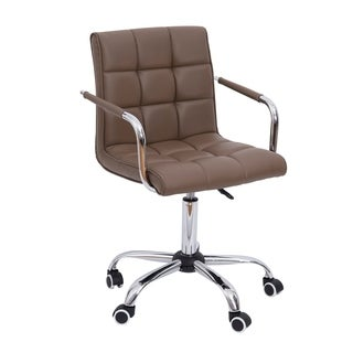 HomCom Modern Tufted PU Leather Midback Home Office Chair - Brown