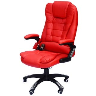 Homcom High Back Executive Ergonomic Pu Leather Heated Vibrating Mage Office Chair Red