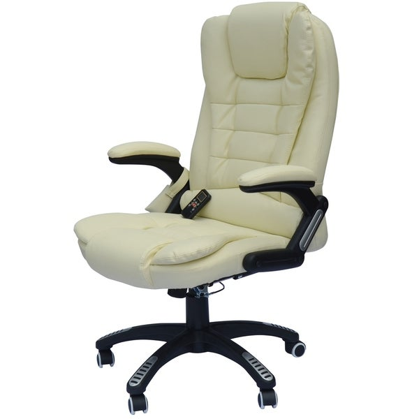 HomCom Faux Leather High Back Executive Heated Massage Office Chair - Cream White